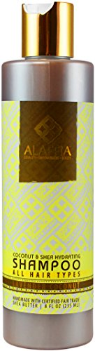 Alaffia Virgin Coconut & Shea Daily Hydrating Shampoo, 8 oz 1 100% FAIR TRADE: Feel good about how you are getting your products with 100% Certified Fair Trade Ingredients. SHINY HEALTHY HAIR WITH NO CHEMICALS: Virgin coconut oil and lemongrass extract moisturize and smooth the hair, leaving it shiny and healthy-looking. EVERYDAY FOR EVERYONE: Formulated for everyday use. For all hair types.