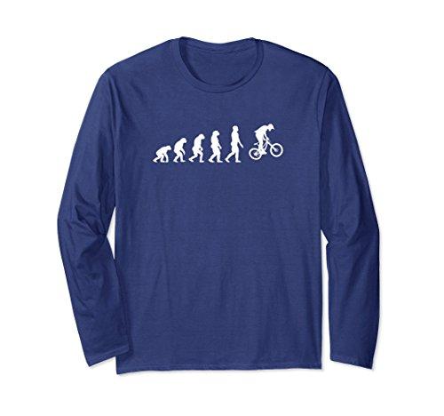 Unisex MTB T Shirt - Funny Mountain Bike Evolution Long Sleeve Tee Small (Bike Evolution T-shirt)