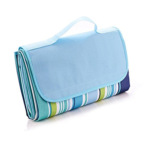 "Outmall Beach Blanket, Portable Foldable Waterproof Sandproof Mat Outdoor Travel Camping Picnic Blanket Tote for BBQ Hiking Backyard Grass Sports and Games - 79"" L x 57"" W Size"