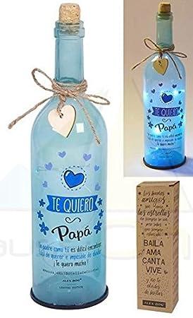 REGALO Botella cristal con luces led y mensaje Te Quiero Papa (NH-001)