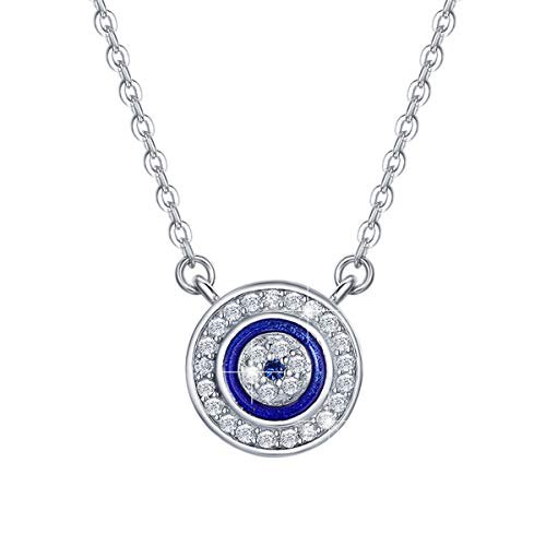 BAMOER 925 Sterling Silver Expandable Lucky Blue Evil Eye Necklace with Sparkling Cubic Zirconia for Women Girls Necklace 5
