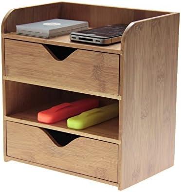 Schreibtisch-Organizer mit 4 Etagen, aus natürlichem Bambus