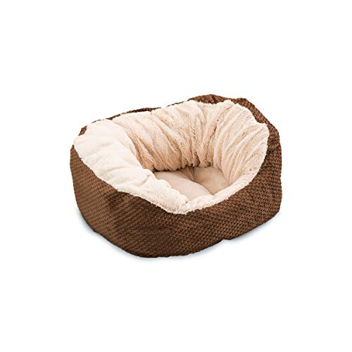 Ethical Pets Sleep Zone Plush Checkerboard Texture Lounger, Cuddler, Napper Dog Bed – Non-Woven Bottom – 18X16 Inches/Chocolate / Attractive, Durable, Comfortable, Washable Review