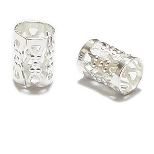 24pcs Top Quality 8mm Silver Plated Filigree Pattern Tubes Large Hole Spacer Beads (Hole ~4.9mm) CF106-S