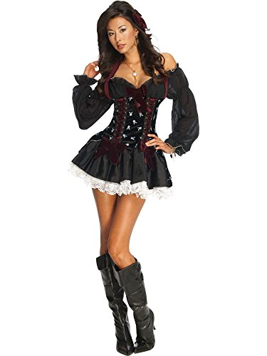 Secret Wishes Women's Playboy Swashbuckler Sexy Pirate Costume, Black, Small