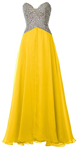MACloth Women Strapless Long Prom Dress 2017 Chiffon Formal Party Evening Gown Amarillo