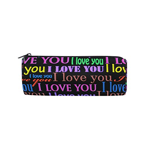 U LIFE Valentines Day Love You Colorful Monogrammed Pen Pencil Holder Case Bag Pouch Purse Cosmetic Makeup (Monogrammed Pencils)