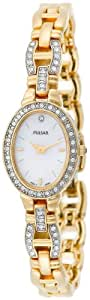 Pulsar Women's PEGA62 Crystal Dress Gold-Tone Mother-of-Pearl Watch