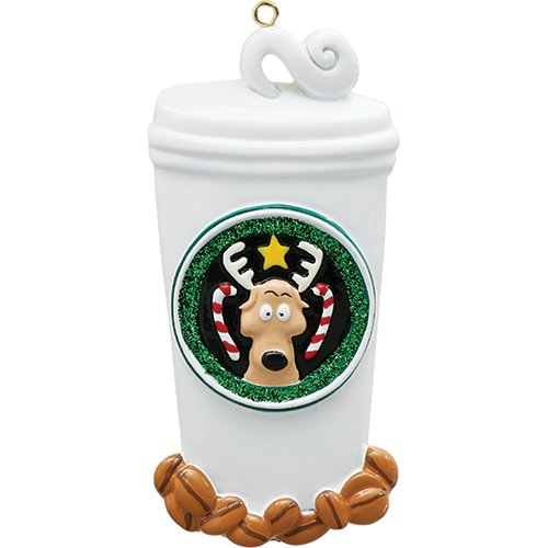 Personalized Coffee Lover Christmas Tree Ornament 2019 - White Cup Rein-Deer Candy Cane Fresh Beans Caffeine Addict Rudolph Christmoose Fun Gift Gift Year - Free Customization ()