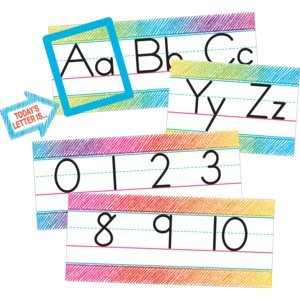 Teacher Created Resources Colorful Scribble Alphabet Line Bulletin (Manuscript Alphabet)