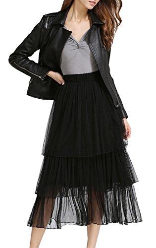 Tribear Women's Elastic Waist Layered Skirts A-line Fairy Soft Tutu Tulle Midi Skirt Black (Plus Size Fairy Dress)