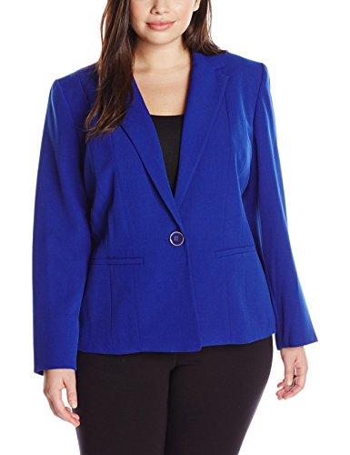 Kasper Women's Plus-Size 1 Button Jacket, Cobalt, 22W