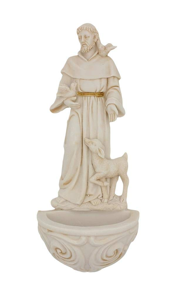 Religious Resin St Francis with Doves Holy Water Font 6 3//4 Inch