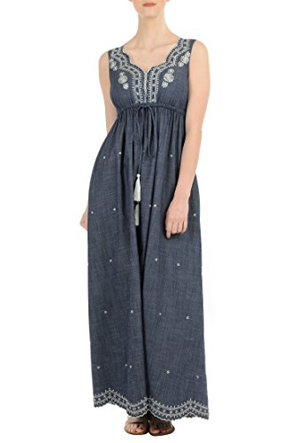 eShakti Women's Floral scallop drawstring maxi dress 5X-34W Short Deep indigo/white