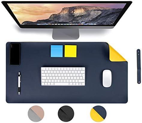 [Gesponsert]MyGadget Schreibtischunterlage 60 x 30 cm - PU Leder Mauspad Schreibunterlage Tischunterlage/rutschfest für Computer Laptop - Zweiseitig Blau Gelb
