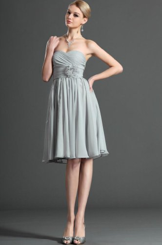 Evening Women's Chiffon Sweetheart Dearta Length Line A Grey Knee Dresses p0nWW4P1