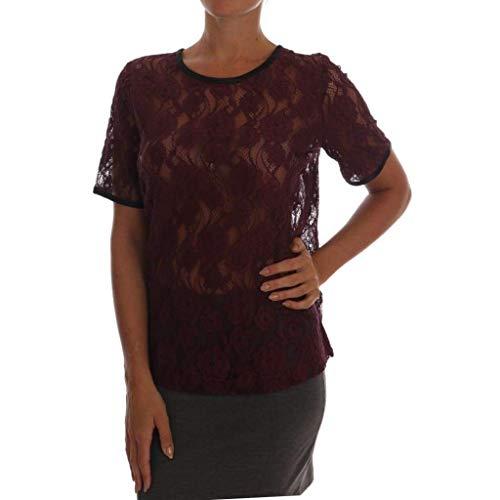 - Dolce & Gabbana Purple Floral Lace Blouse Top