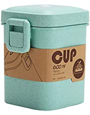 Yardwe Soup Cups Adults Kids Lunch Bento Container Hot Food Soup Jar Coffee Mugs Wheat Straw Microwave Safe for Kids Adult School Office Food Flask 600ml Green