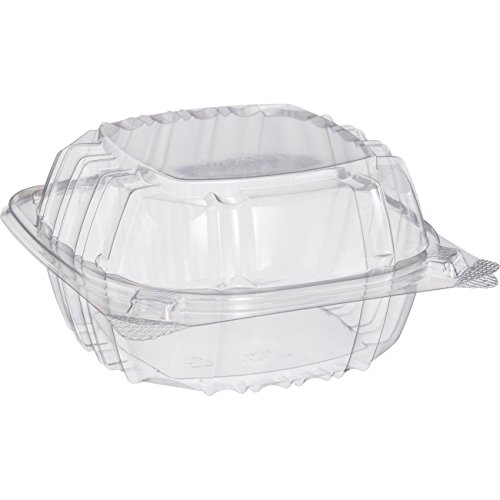 Pack of 100 Small Clear Plastic Hinged Food Container 6x6 for Sandwich Salad Party Favor Cake Piece -