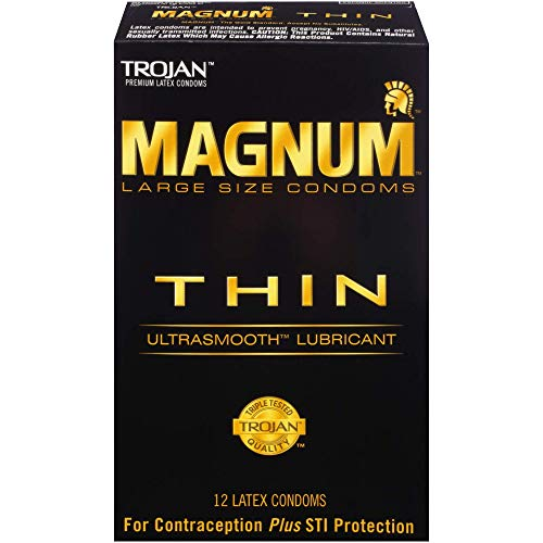 Trojan MAGNUM Thin Ultrasmooth Lubricant Condoms, 12 -