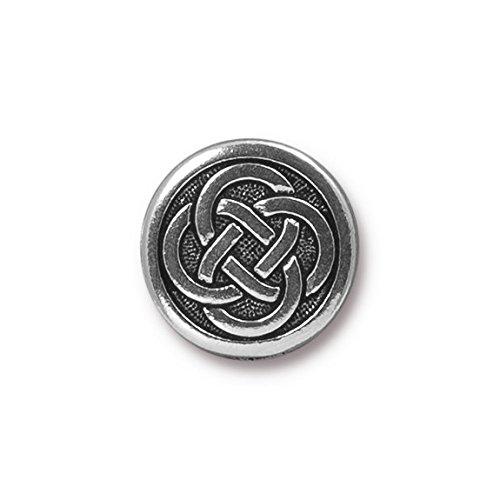 TierraCast Button Celtic Knot, 16mm, Antique Silver