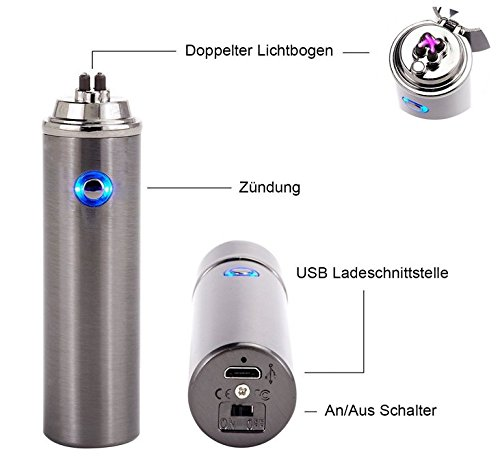 Jinlun Feuerzeug rund, elektronisch aufladbar, windfest Arc Lighter mit UBS Kabel, schwarz matt