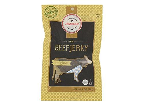 Aufschnitt All Natural Gluten-Free Real Artisan Gourmet Beef Jerky Original Flavor Certified Kosher - Star-K, No Nitrites, Grass Fed Beef 2 oz