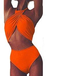 Women's Hot Halter One Piece Bikini Swimsuit Crop Swimwear