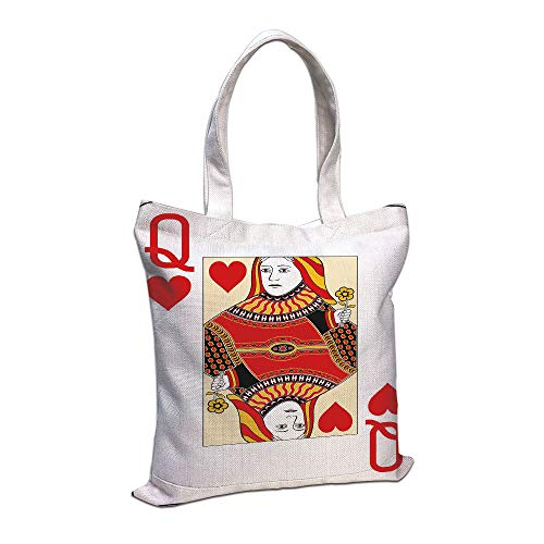 iPrint Cotton Linen Tote Bag, Queen,Queen Hearts Playing Card Casino Decor Gambling Game Poker Blackjack Deck,Red Yellow White Shopping Camping School Casual Pocket