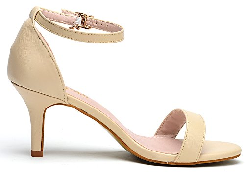 Odema Sommer Damen Sexy Open-Toe Knöchelriemen Kleid Sandalen Courts For Women's Aprikose