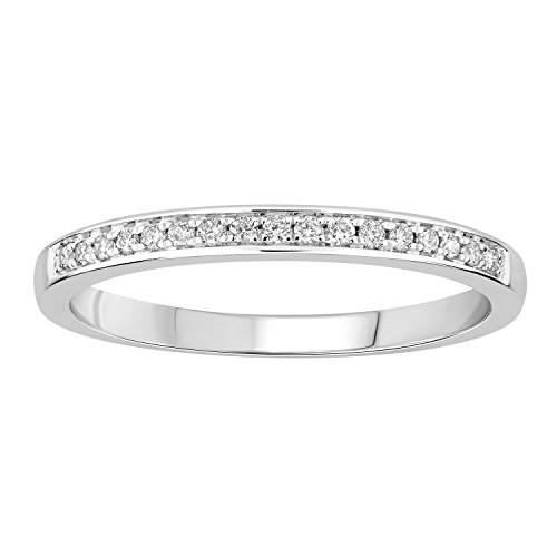 0.14 cttw 14k Gold Round I-J White Diamond Ladies Anniversary Wedding Band Stackable Ring (white-gold, 9) by eSparkle