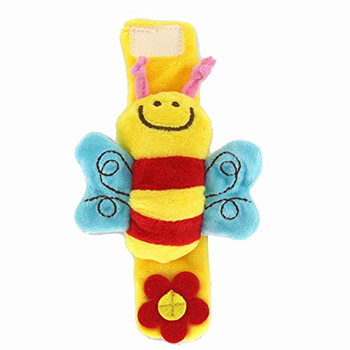 - Cute Animal Hand Wrist Bells Doll Toy - Soft Plush Stuffed Foot Sock Toys Handbell Jingle Rattles Musical Instrument for Kids,Early Educational Developmental Toys for Baby/Infant/Newborn, 1 Pcs (B)