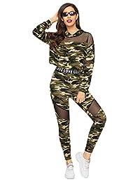 SweatyRocks Women's 2 Pieces Outfits Long/Short Sleeve Fishnet Hoodie Crop Tops and Skinny Leggings Set