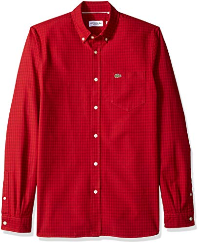 Lacoste Men's Long Sleeve Gingham Oxford Button Reg Fit Woven Shirt, CH5810, Passion/Lighthouse red, 2XL - Fit Woven Shirt
