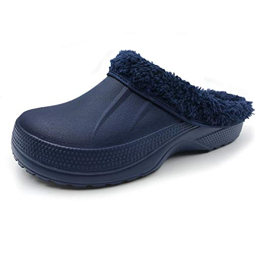 Amoji Winter Slippers Indoor House Clogs Home Ferry Lined Fleece Mule Men Women Ladies Navy 12 US Women/10 US Men