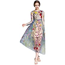 DEZZAL Women's Floral Embroidered Tulle Prom Maxi Dress with Cami Dress