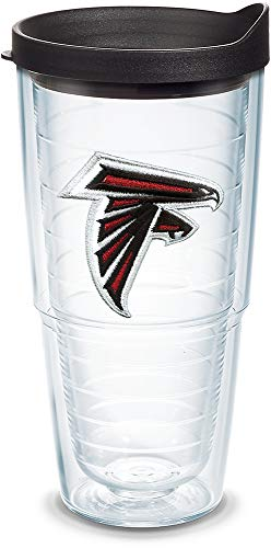 Tervis 1039059 NFL Atlanta Falcons Primary Logo Tumbler with Emblem and Black Lid 24oz, Clear