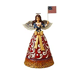 Jim Shore Heartwood Creek Patriotic Angel with Yellow ribbon and American Flag Figurine 10-3/4-Inch