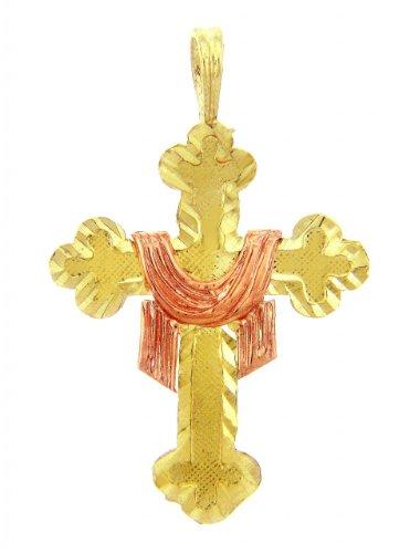 Petits Merveilles D'amour - 14 ct Or Jaune 585/1000 Croix - La Croix Pendentif Drapé
