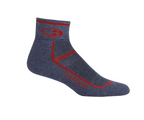 Icebreaker Merino Men's Multisport Light Cushion Mini Socks, Fathom Heather/Rocket, Large