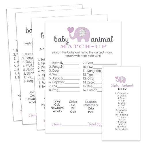 Purple Elephant Animal Match Game Baby Shower or Party - Set of 25