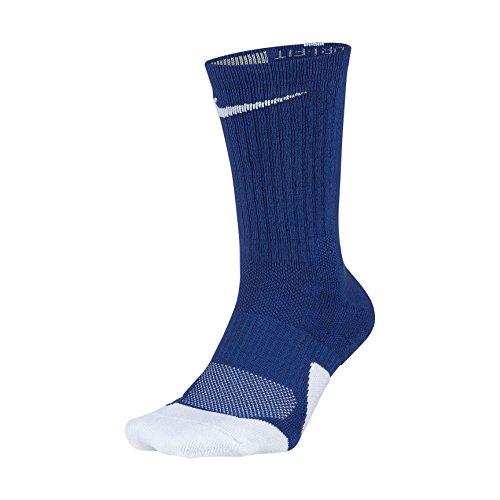 NIKE Dry Elite Unisex 1.5 Crew Basketball Socks (1 Pair), Game Royal/White/White, Large