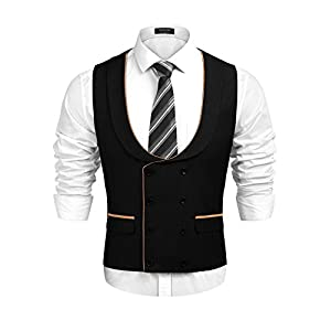 COOFANDY Men's Business Suit Vest Slim Fit Skinny Double Breasted Wedding Waistcoat