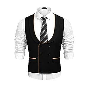 COOFANDY Men's Business Suit Vest Slim Fit Skinny Double Breasted Wedding Waistcoat