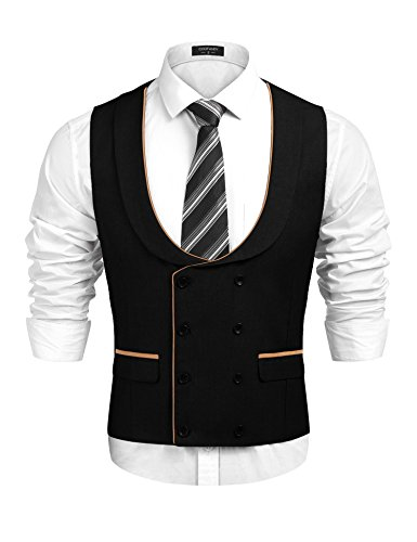 COOFANDY Mens Business Suit Vests Double Breasted Tuxedo Vest Waistcoat,Black,Medium
