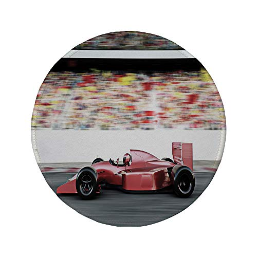- Non-Slip Rubber Round Mouse Pad,Cars,Motor Sports Red Race Car Side View on a Track Leading The Pack with Motion Blur,Gray Red Black,11.8