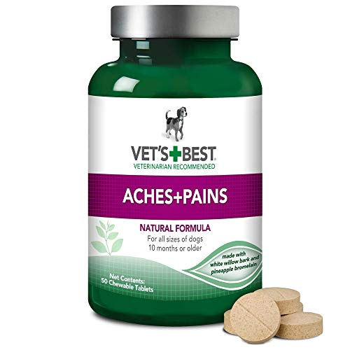 Vet's Best Aspirin Free Aches + Pains Dog Supplement | Vet Formulated for Dog Pain Support and Joint Relief | 50 Chewable Tablets ()