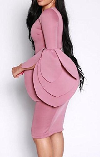 Pure Pink Bodycon Dress Round Waist Comfy Color Party Womens Neck qtH0zH