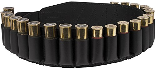 BronzeDog Handmade Leather Shotgun Shell Cartridge Belt Holder Bandolier, Buttstock Shell Holder 12 gauge for Rifles, Hunting Ammo Pouch Bag, 12 ga Shotgun Shell Pouch Black Brown Khaki Grey (Black)