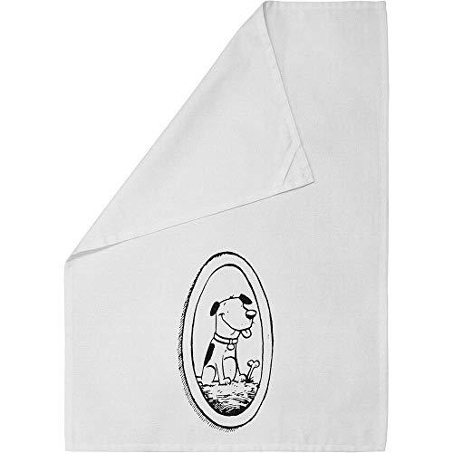Azeeda 'Framed Dog' Cotton Tea Towel / Dish Cloth (TW00001967)